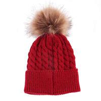 Newborn Baby Boy Girl Fur Pom Hat Winter Warm Crochet Knit Bobble Beanie Cap New