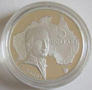 Australia-5-dollars-1993-Masterpieces-en-Silver-Matthew-Flinders-1-Oz-plata