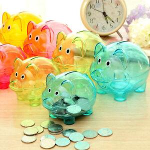 BLUE-Cute-Plastic-Piggy-Bank-Coin-Money-Cash-Collectible-Saving-Box-Pig-Dgrl