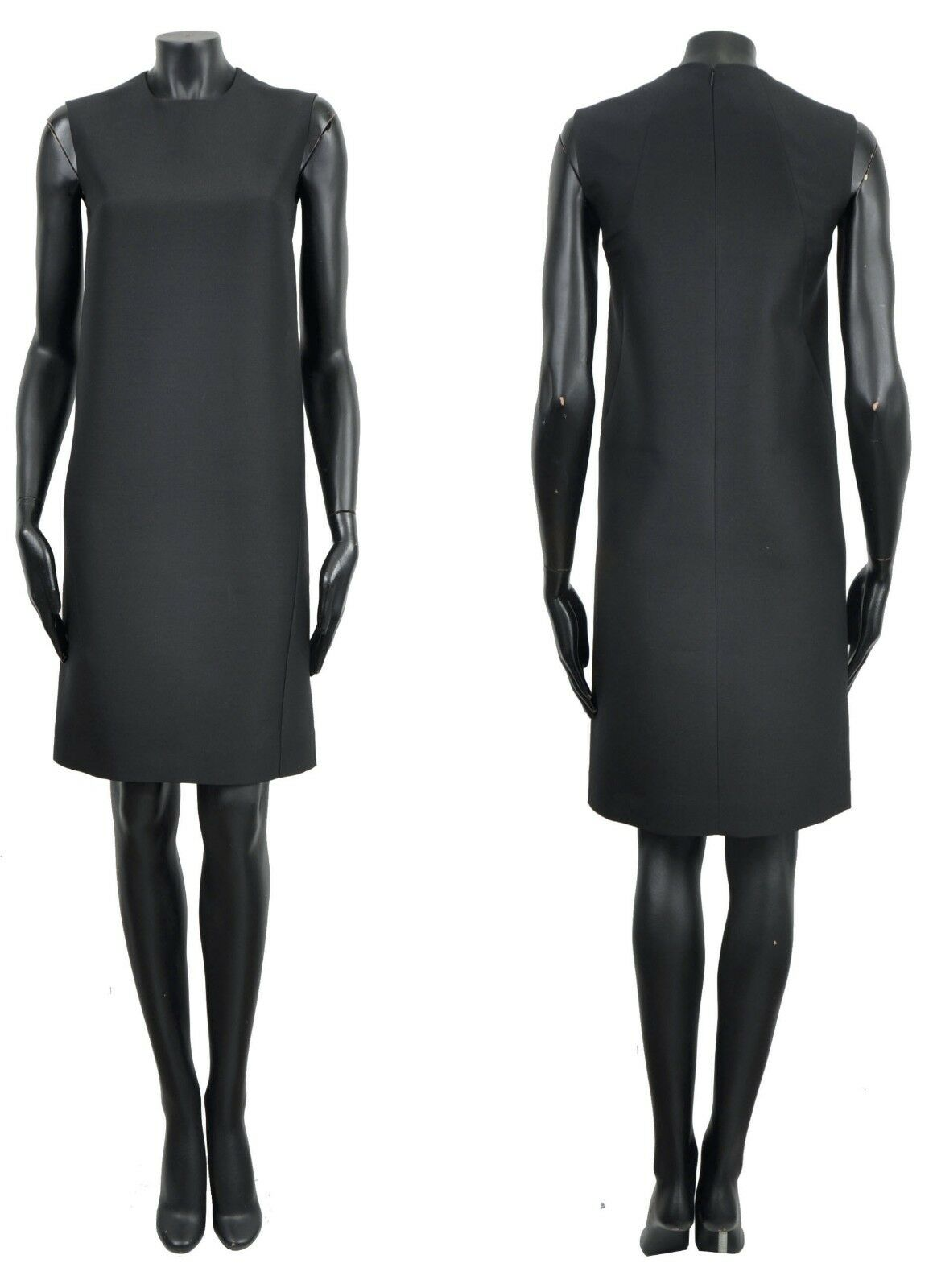 CELINE por Phoebe Philo  1500 Negro Clásico  Lana de Seda Vestido Sin Mangas Shift  grandes ofertas