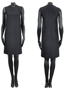 Celine von Phoebe Philo 1500 $Classic schwarz Seide Wolle ärmellos Etuikleid