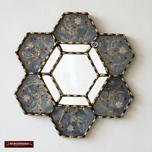 Hexagonal Blue Wall Mirror 11 8 From Peru Decorative Accent Small Mirrors Wall Ebay