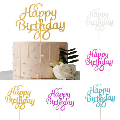 Party Supplies Happy Birthday Cake Toppers Glitter Cupcake Sparkle Decorations