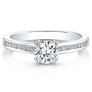 0.70 Ct Round Moissanite Engagement Bridal Ring 18K Solid White Gold ring Size 5