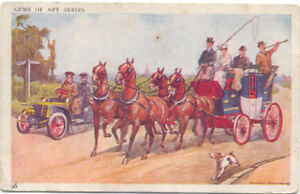 Comic-Veteran-Car-Gems-of-Art-Series-Car-passing-coach-and-horses
