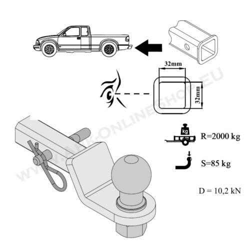 Lincoln Navigator 1-1//4 Inch receptor 32x32mm remol us vehículos adaptador