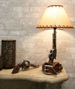 Western Six Shooter Revolver Gun With Holster & Ammo Belt Base Table Lamp Decor