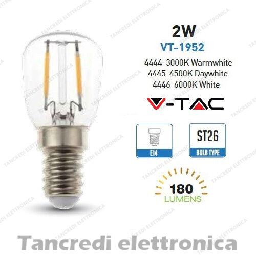 Lampadina led V-TAC 2W = 25W E14 VT-1952 ST26 lampada filamento lampadine bulbo