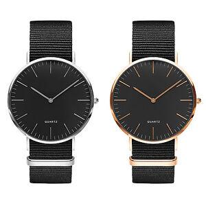 Reloj-Hombre-Mujer-Unisex-Elegante-Pulsera-Nato-NEGRO-Casual-Nuevo-Modelo