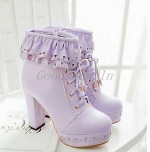 Womens Sweet Lolita Lace Up Platform Block High Heels Mid Calf Warm Riding Boots