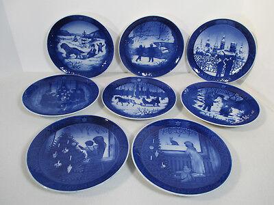 Royal Copenhagen Christmas Jul Plate Vintage Set of 8 1981 to 1988 Denmark