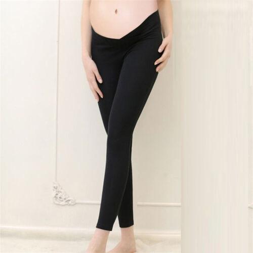 New Women Solid Maternity Pregnancy Pants Velvet Trousers Stretch Leggings Mid L
