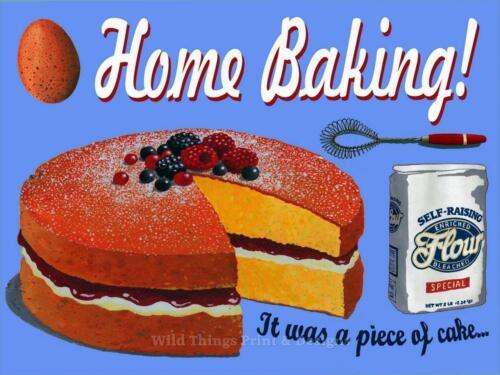 Rétro plaque métal home baking il était un morceau de gâteau signe//ad