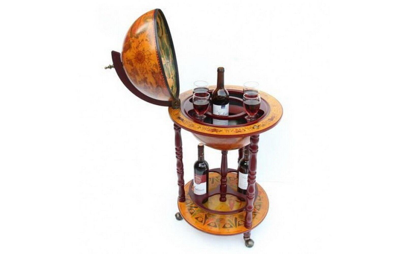 Mini bar vin Conteneur minibar en bois globe verre bouteille verres Roue Portable