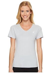 Asics-Women-039-s-ASX-Dry-Short-Sleeve-Shirt-Mid-Grey-Size-L