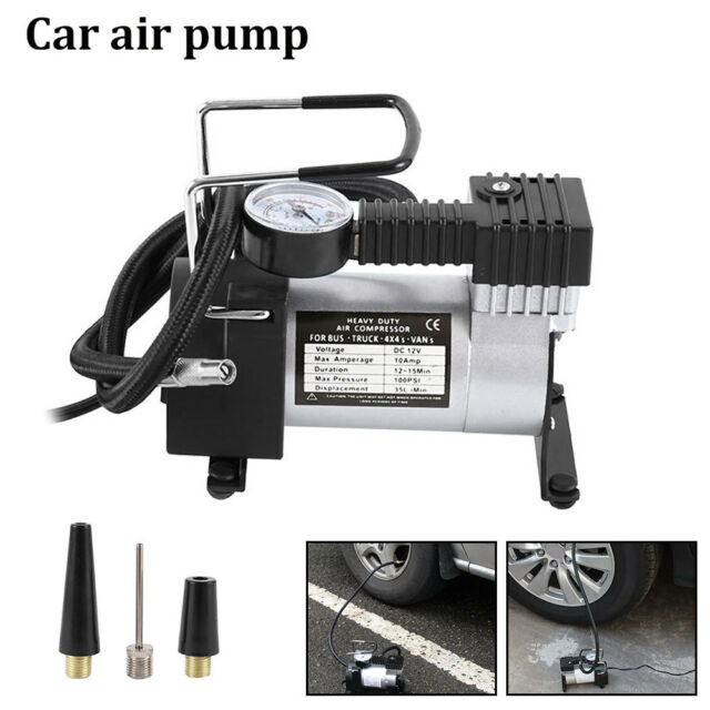 HEAVY DUTY PORTABLE 12V ELECTRIC CAR TYRE INFLATOR 100 PSI AIR COMPRESSOR PUMP