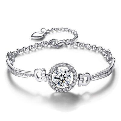 Rhinestone crystal white gold plated bridal bracelet bangle jewelry wedding B
