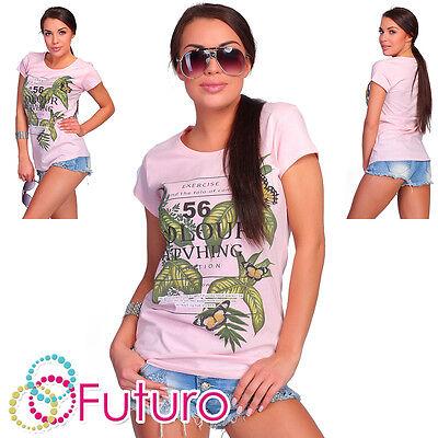 Liberal Casual T-shirt 56 Colour Print Crew Neck Short Sleeve Party Top Sizes 8-14 Fb152 Phantasie Farben