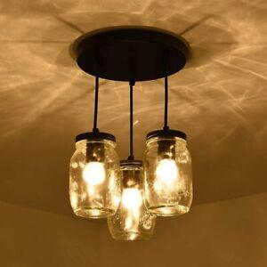 Mason Jar Kitchen Island 3 Lights Lights Ceiling Fixture Pendant Light Kitchen Ebay