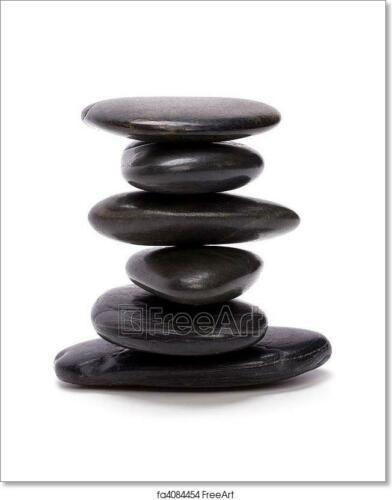 Wall Art Zen Stones Isolated On White Art//Canvas Print Poster Home Decor