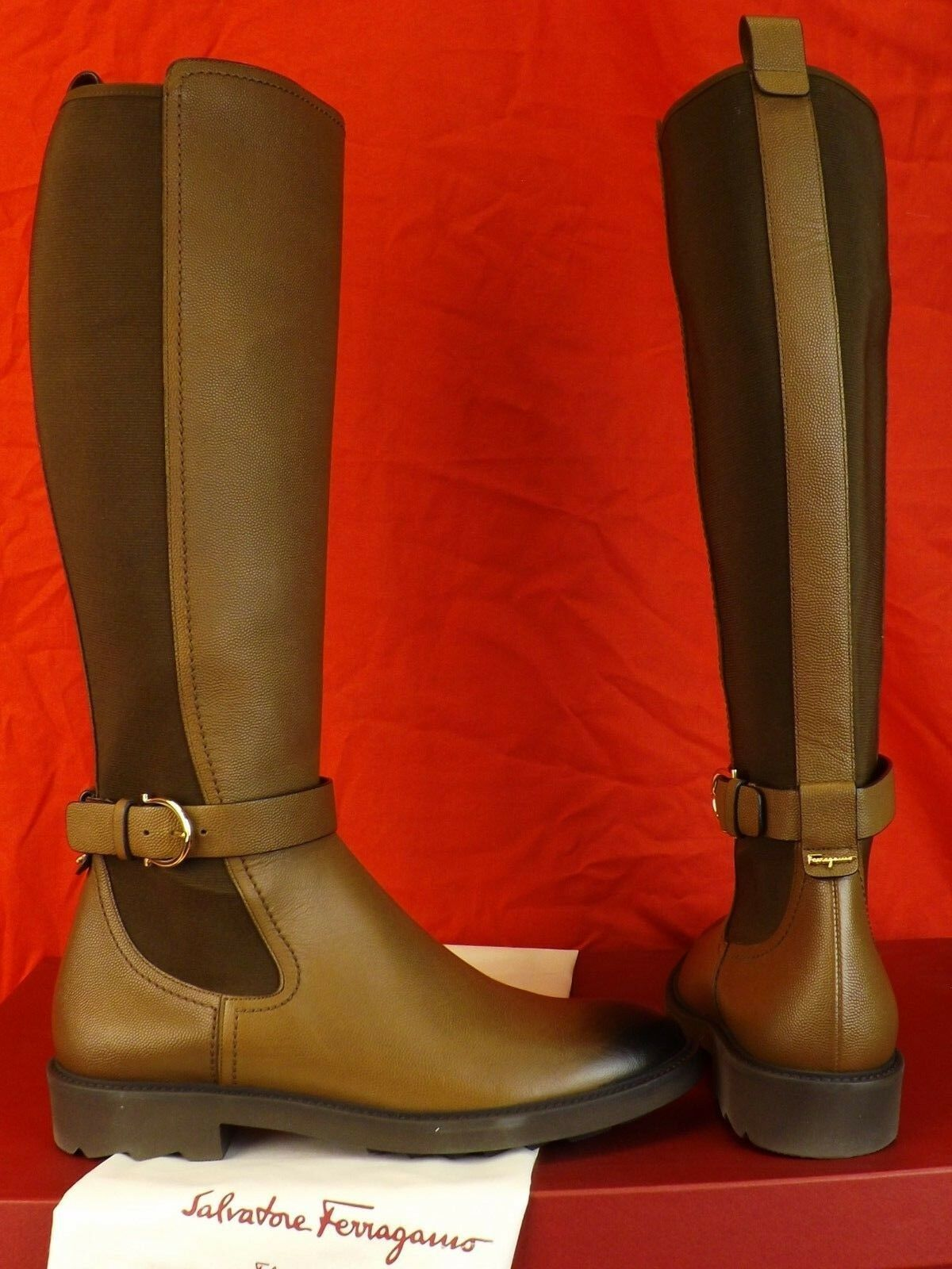 FERRAGAMO FURSEO PEBBLED LEATHER marrón ELASTIC GANCINI RIDING TALL botas 9.5