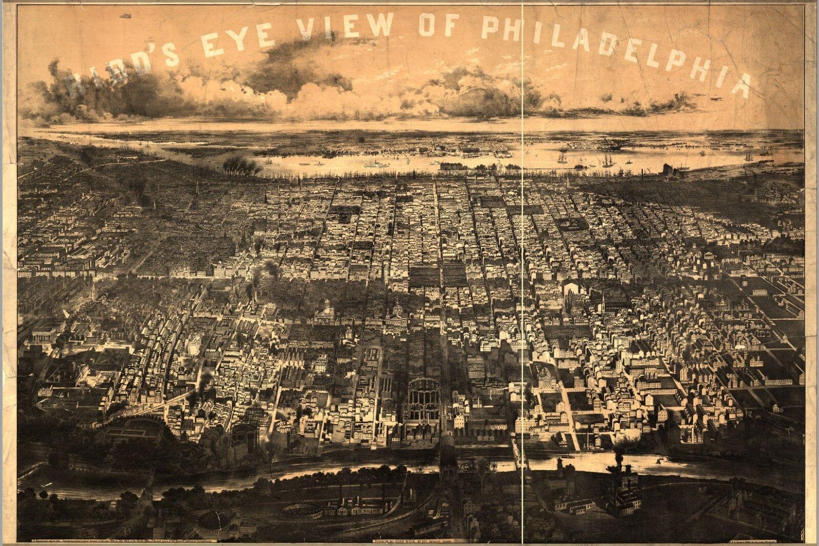 Poster, Molte Misure; Birdseye Vista Mappa Del Philadelphia 1868