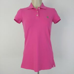 Lilly-Pulitzer-Island-Polo-Shirt-Size-XS-Cotton-Blend-Pink-Green-Short-Sleeve