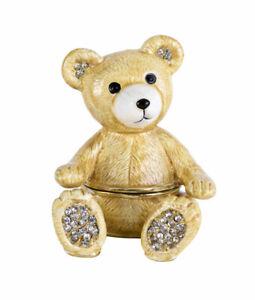 Pillendose Teddy Schmuckdose Vintage Deckeldose Teddybär Box Schmuckfigur Bär