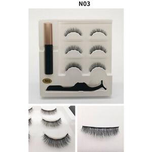 3-Paires-Vison-Faux-Cils-Magnetiques-Naturels-Eyeliner-Liquide-Extension-Pince