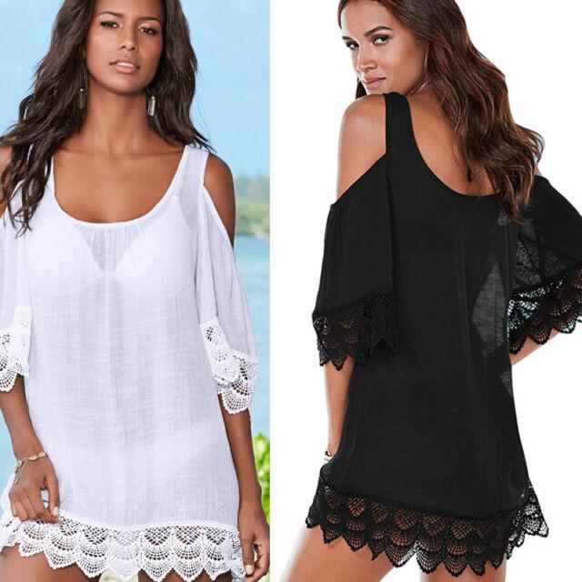 Women Cold Shoulder Lace Bathing Suit Bikini Swimwear Cover Up Beach Dress Tops