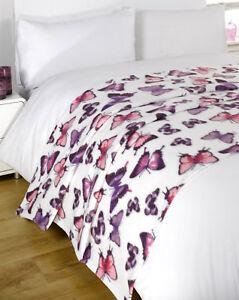Dreamscene-Chaud-Doux-Papillon-Violet-Couverture-en-Polaire-au-dessus-Du-Lit