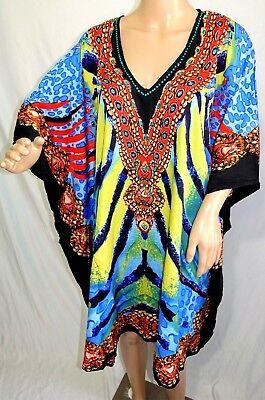 Jessica Taylor Women Plus One Free Size Short Egypt Pharaoh Caftan Top Tunic