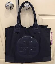 Tory Burch Ella Large Logo Tote In French Navy Blue Nylon & Patent Trim MSRP$195