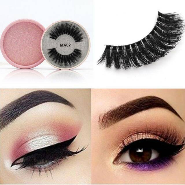 Soft 3D Silk Protein False Eyelashes Extension Cross Long Full Strip Makeup