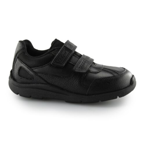 Kickers MOAKIE REFLEX Girls Junior Leather Touch Fasten Straps Trainers Black