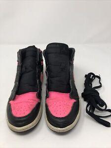 Details about Jordan AJ 1 High Little Kids 705321-019 Black Hyper Pink Shoes Youth Size 3Y