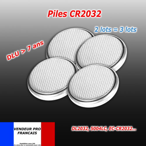 Lot 4 Piles bouton CR2032 CR 2032 Lithium PC calculatrice télécommande voiture