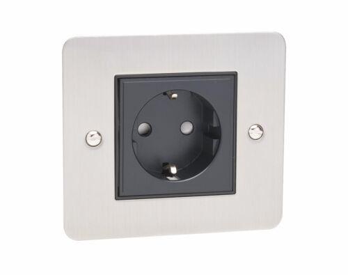 Simple 1 G Schuko électrique Euro Prise d/'alimentation plaque murale chrome brossé Noir