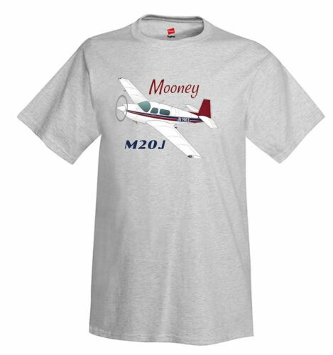 Airplane T-Shirt Mooney M20J // 201 Personalized w// Your N# Red//Blue