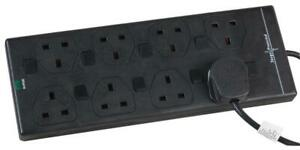 Pro Elec - 2818NS(1N) 5M BLK - 5m 8 Way Switched Surge Protected Extension Lead,