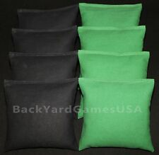 CORNHOLE BEAN BAGS Black & Green 8 ACA Corn Hole Game Toss Bags Marshall Herd