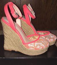NEW Victoria's Secret Supermodel Essentials Wedge Sandals in Coral Lace. Size 5