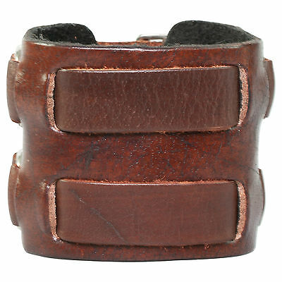 Wide Men's Genuine Brown Leather Cuff Bracelet 55mm Double Buckle Clasps