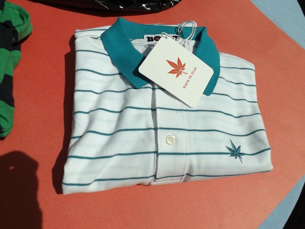 1 Neuf Avec étiquettes Se Vanter D'homme à Manches Courtes Polo Shirt Small Teal? & Blanc Avec Pot Leaf