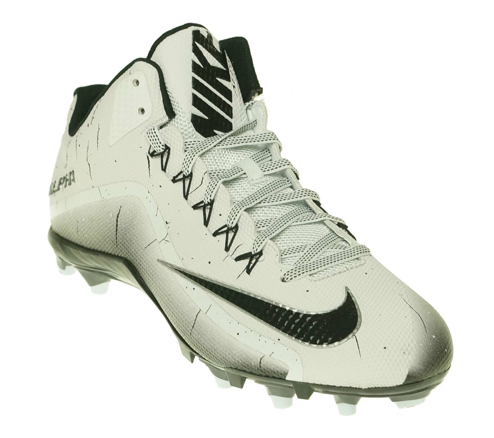 Nike Men's Alpha Pro 2 3/4 TD Football Cleated Shoes Black White Size 14 100