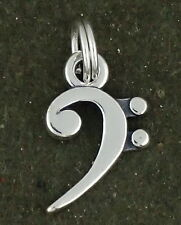 Music Note Bass Clef Symbol Charm Sterling Silver Pendant   Split Ring