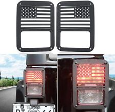 Pair Of Rear Tail Light Cover Guard Us American Flag For 07 18 Jeep Wrangler Jk Fits Jeep