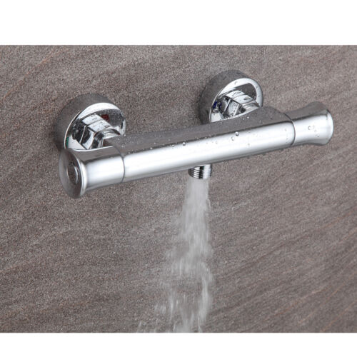 Thermostatic Bar Shower Mixer Square Chrome Bathroom Exposed Twin Head Valve Set