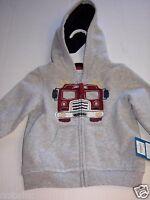 Sonoma Boy's Jacket Hood Hoodie Zipper Pocket Fire Truck Toddler 12m