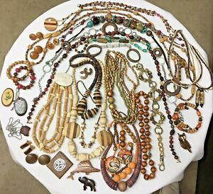 Lot of Vintage Wooden Hippie Bead Jewelry 20 Necklaces 6 Pins 8 Pr Earrings ++